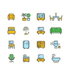Furniture Icon Set Color vector image