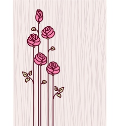 Greeting Card with Pink Stylized Roses vector image vector image