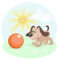 happy dog on shiny lawn vector image vector image