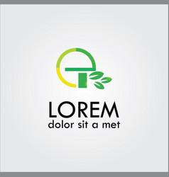 Letter e organic green leaf logo vector