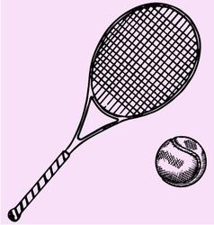 Tennis racket ball vector image