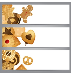 banners with cookies vector image vector image