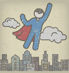 flying superhero save city vector image