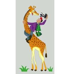 Giraffe and photographer vector image vector image