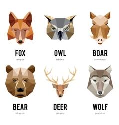 Low polygon animal logos Triangular geometric vector image
