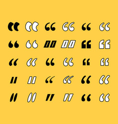 marks or quotes icons set vector image