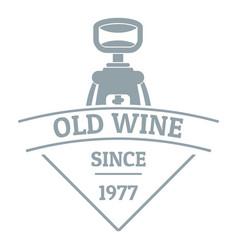 restaurant wine logo simple gray style vector image