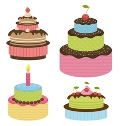 Set of birthday cakes vector image