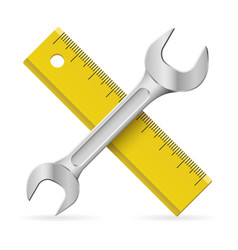 spanner and ruler on white background vector image vector image