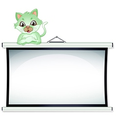 A green cat above the whiteboard vector image
