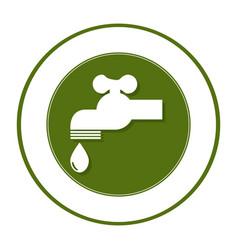 circular frame with symbol saving water faucet vector image