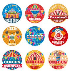 Circus vintage labels and emblems vector
