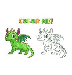 cute cartoon green dragon vector image vector image