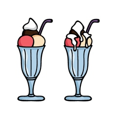 Ice cream in a glass vector image vector image