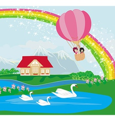 Kids in an air balloon and beautiful country vector