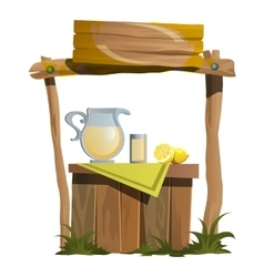 Stand on preparation and selling of citrus drinks vector image