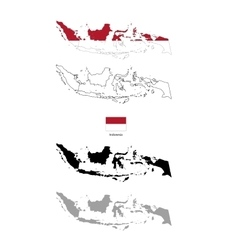 Indonesia country black silhouette and with flag vector image