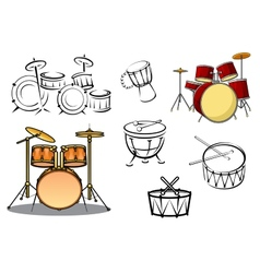 Percussion instruments icons vector image vector image