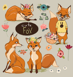 set with cartoon fox vector image
