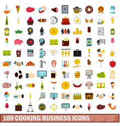100 cooking business icons set flat style vector image