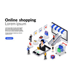 17isometric flat online shopping for web vector image