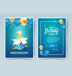 1th years birthday invitation double card vector image