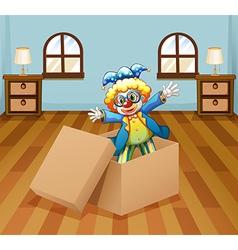 A clown inside the box vector