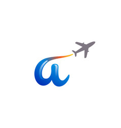 a letter travel airplane creative logo vector image