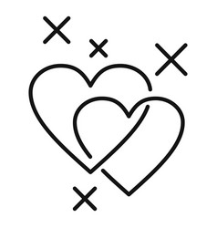 Affection cute hearts icon outline style vector
