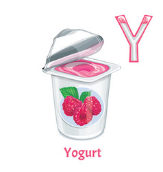 alphabet letter y yogurt vector image