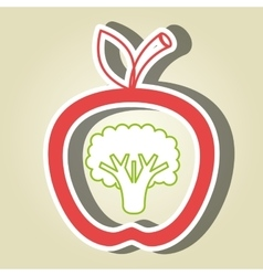 apple fruit with broccoli isolated icon design vector image