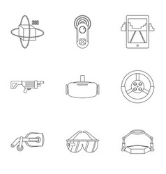 Augmented reality icons set outline style vector