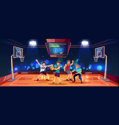 Background with people playing basketball vector
