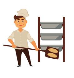 Baker man in bakery shop baking bread vector