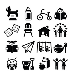 Baor toddler in nursery or day care icons set vector