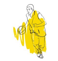 Basketball player playing vector