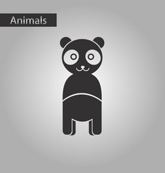 Black and white style icon panda bear vector