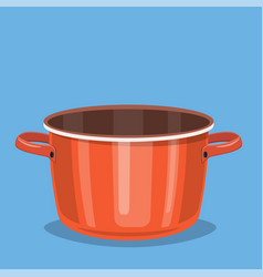 black cooking pot empty red saucepan vector image