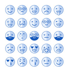 Blue flat icons of emoticons smile with a beard vector