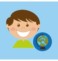 boy cartoon school globe map icon design vector image