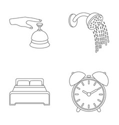 Call at the reception alarm clock bed shower vector