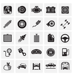 car parts and repair set on squares background for vector image