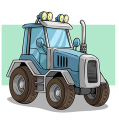 Cartoon blue agriculture machine truck or tractor vector