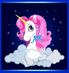 cartoon white unicorn head with pink hair and vector image
