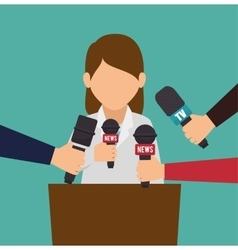 character interviwe podium microphone graphic vector image