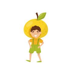 cheerful little boy in apple headwear funny kid vector image