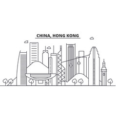 China hong kong architecture line skyline vector