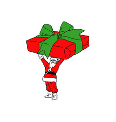 Christmas santa claus with very big gift in hands vector