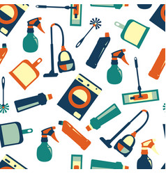 color seamless pattern of cleaning service vector image