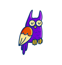 colorful cartoon owl on white background vector image